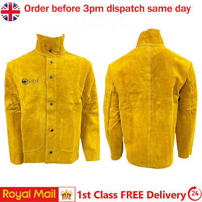 Heavy Duty Cow Split Leather Welding Stitched Jacket Welders Protective S To 3XL • 49.49£
