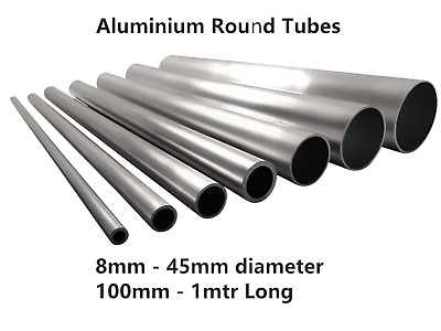 Aluminium Round Tube Pipe 8mm - 45mm Od Multiple Sizes And Lengths 6082T6 6063T6 • 7.88£