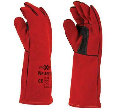 Maxisafe Western Red Welding Gauntlet Safety Protection Gloves Pizza Oven • 12.13£