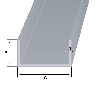 Aluminium Channel U C Equal Section Many Sizes Available Grade 6082T6 6063T6  • 21.43£