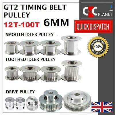 GT2 6mm Timing Belt Smooth Tooth Idler Drive Pulley 16 20 30 36 40 60 Bore 3 5 8 • 18.95£