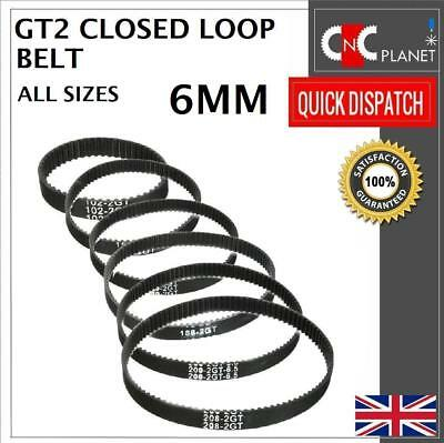 GT2 2M 2mm Pitch 6mm Width Closed Loop Synchronous Timing Belt For Pulley CNC 3D • 3.25£