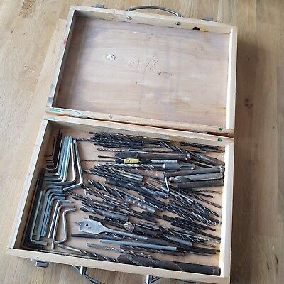 Joblot DRILL BITS Mix Attachments Allen Keys And Wooden Storage Case Used/new • 9.99£