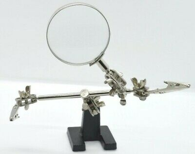 Hands Free Jewellery Craft Hobby Bench Clamp Jaws Magnifying Glass Helping Hand • 5.99£