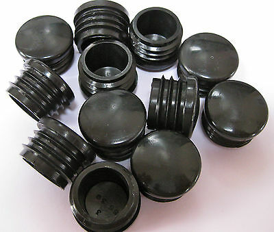 25mm Plastic Round Tube Insert Black Blanking End Cap Caps Tube Pipe Plug Bung • 18.49£