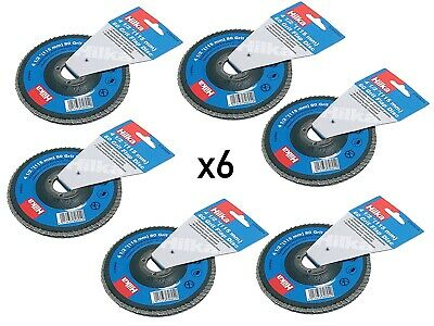 6 Hilka Flap Discs - Sanding Grit 80 - 4.5 Inch For 115mm Angle Grinders • 12.95£