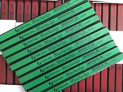 10 X CARPENTERS PENCILS BLACKEDGE  REXEL H HARD GREEN Wood Brick Plaster  • 5.39£