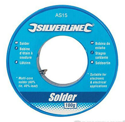 Silverline 100g Flux Covered Solder 1mm Electrician Plumbing Hobby Circuit Board • 4.49£