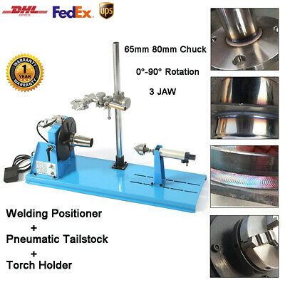 10KG Rotary Welding Positioner 65mm 80mm 3 Jaw Chuck Pneumatic Tailstock Bracket • 599.99£