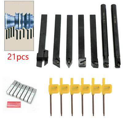 7pcs/set 10mm Shank Lathe Turning Tool Holder Boring Bar + Carbide Insert Kits • 21.99£