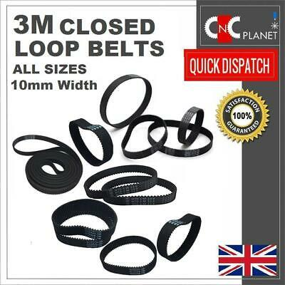 3M 3mm Pitch 10mm Width Closed Loop Synchronous HTD Timing Belt GT3 3M Pulley UK • 4.95£