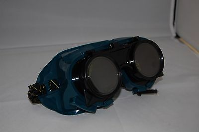 Round Lense Flip Up Goggles Gas Welding Shade 5 Safety • 6.95£