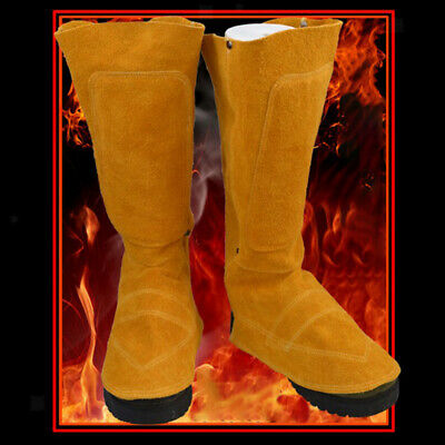 1Pair Long Welding Spats Shoe Cover Suede Leather Welder Feet Protector • 20.24£