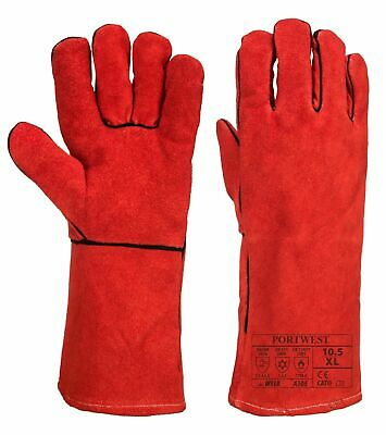 Portwest A505 Welding Gloves Thermal Gauntlet Cow Split Leather Gloves Red Heat • 6.04£