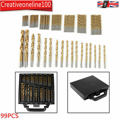 99PC PROFESSIONAL HSS DRILL BIT SET 1.5-10mm W/ STORAGE CASE METAL WOOD PLASTIC • 15.99£
