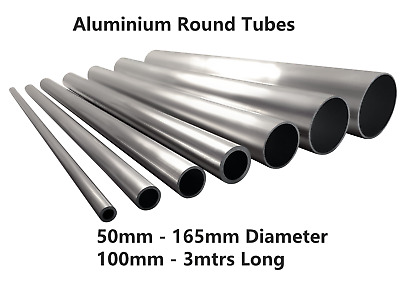 Aluminium Round Tube Hollow Pipe 35mm - 165mm Multiple Sizes & Lengths GS • 10.90£