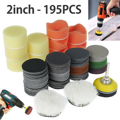 195X 2'' Sanding Discs Pad Kit For Drill Grinder Rotary Tools + M6 Drill Adapter • 14.09£