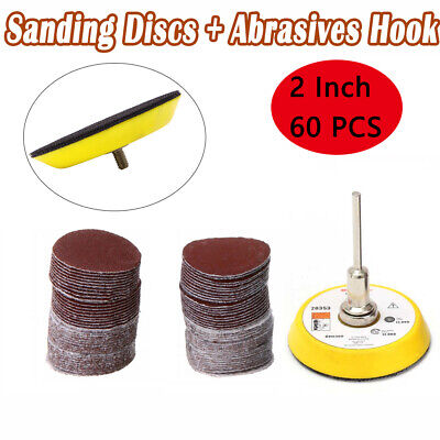 60PCS 50mm Sanding Discs +2 Inch Abrasives Hook & Loop Backing Pad+Drill Adaptor • 8.31£