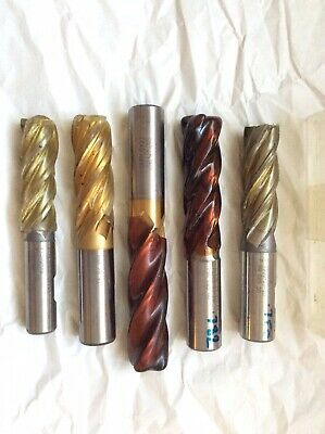 5 END MILLS Various Sizes. • 18£