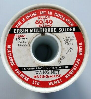 Ersin Multicore Solder 60/40 Tin Lead 18swg 1.2mm Genuine Made In England 1Mtr • 1.99£