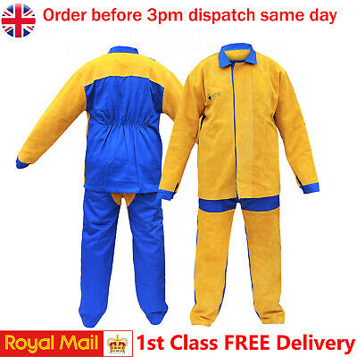 Welding Protective Full Suit Cow Split Leather With Cotton Work ASK-JFR-4005/6 • 69.99£