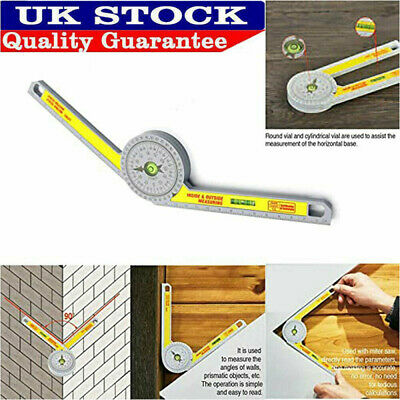 Pro Durable Angle Finder Miter Saw Protractor Measuring Ruler Tool Goniometer Uk • 7.09£