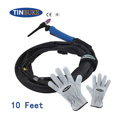 WP17Fv 200A TIG / TIG Welding Torch 3M & 10 Feet Hose Package + Gloves • 25£