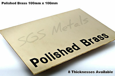 100 X 100 Mm - Polished Brass Sheet Plate Shim 0.9 1.2 1.5 2.0 2.5 & 3.0mm Thick • 5.89£