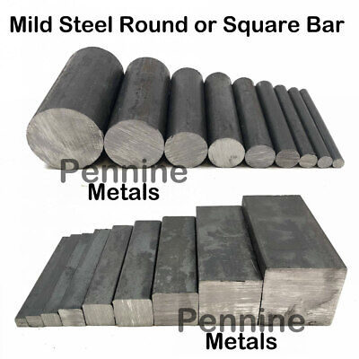 MILD STEEL Solid SQUARE Or ROUND BAR - 9 Diameters & 10 Lengths To Choose From • 5.83£