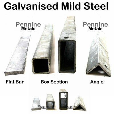 GALVANISED Mild STEEL Sections Flat Square Rectangle Box Section & Angle Iron • 20.09£