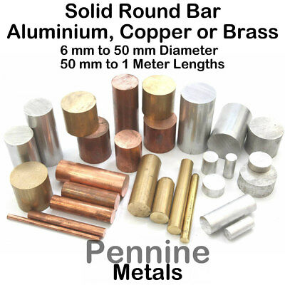 Solid ROUND Bar Rod - Aluminium, Brass Or Copper 11 Sizes & 6 Lengths Available • 5.01£