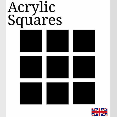 Black Square Acrylic Plastic Perspex Various Sizes Small Arts & Crafts K&M • 2.49£