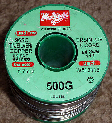 1 Or 2  Mtrs Of Genuine Multicore 96SC Lead-free Solder  3.8% Silver - 3 Sizes • 2.60£
