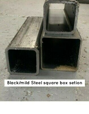 BLACK (Mild) STEEL BOX SECTION/SQUARE TUBE  -  Many Sizes, Wall Depths & Lengths • 8.55£