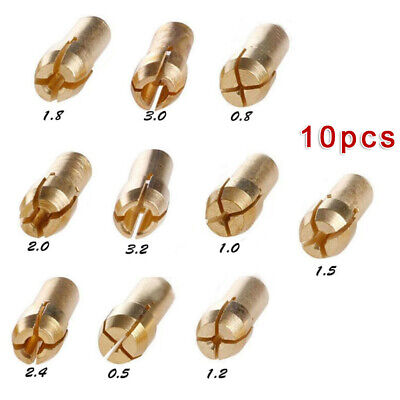 10pcs/set Gold Drill Chucks Collets 4.3mm 0.8-3.2mm Brass For Hardware Tools • 2.82£