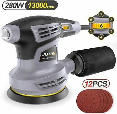 Jellas Orbital Sander, 280W 125MM Sander Machine With 13000RPM 6 Variable Speed • 39£