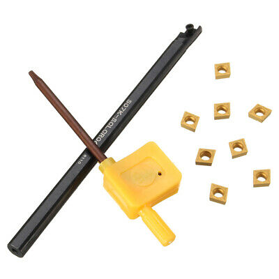 S07K-SCLCR06 Lathe Boring Bar Turning Holder+8 CCMT0602 Carbide Inserts+1 Wrench • 14.69£