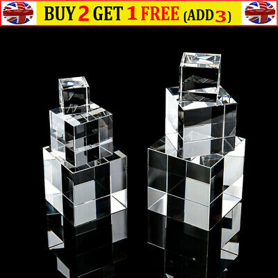 Super Clear Acrylic Cube Cuboid 3/4/5cm For Home Shop Jewel Display Stand Holder • 10.49£