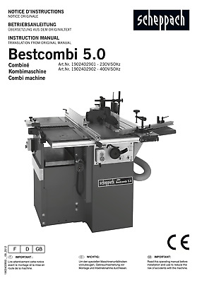 Manual For Scheppach Bestcombi 5.0 ( # 1902402901 ) • 0.99£