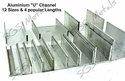 Extruded Aluminium U CHANNEL C Profile - 12 Sizes & 4 Lengths Available • 30.13£