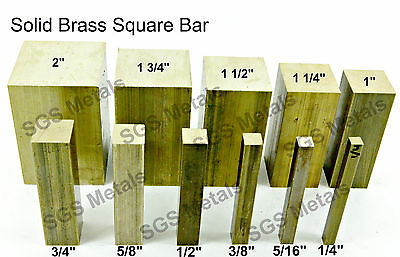 CZ121 Solid Brass SQUARE Bar - 11 Diameters & 6 Lengths Available - Milling • 6.81£