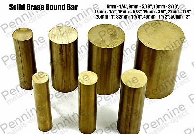 Solid Brass ROUND Bar Rod - 11 Diameters & 7 Different Lengths Available • 33.17£