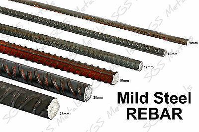 Mild Steel REBAR 12 Lengths To Choose From & 6 Diameters Available • 23.10£