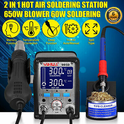 2IN1 Soldering Station Iron W/ Pluggable Hot Air Gun Rework Welding Station 995D • 81.99£