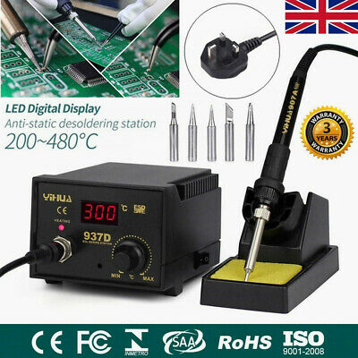 937D Soldering Iron Station Hot Air Digital Welding SMD Tool Stand W/5 Tips 45W • 25.99£