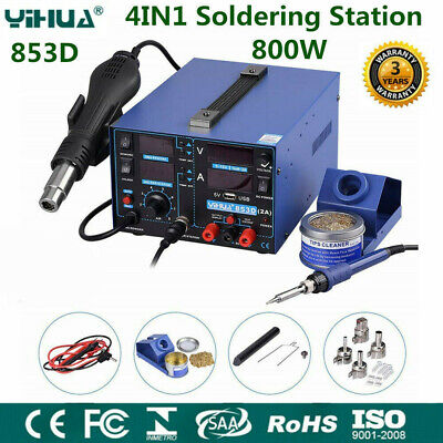 YIHUA 4IN1 Soldering Station Solder Rework Tool Set Hot Air Gun Welder 853D • 129.99£