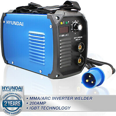 ⚫  Welder 200 Amp MMA ARC Inverter Stick Rod Welding Machine HYUNDAI 🔵 • 165.37£