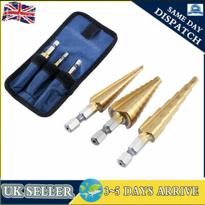 3Pcs HSS Step Cone Drill Titanium Coated Hole Cutter Bit 4-12/20mm With Pouch • 7.69£