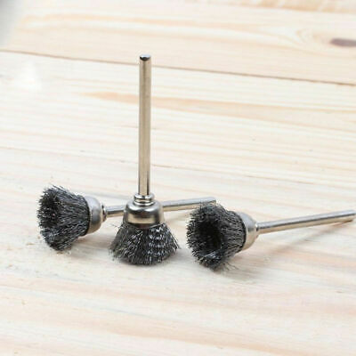 10 Pcs Mini Wire Brush Brushes Brass Cup Wheel For Grinder Or Drill 3mm Shank • 4.18£