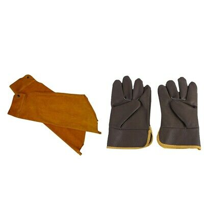 Welding Sleeves Arm Protective Covers + Leather Welder Gloves Hands Cover • 15.64£